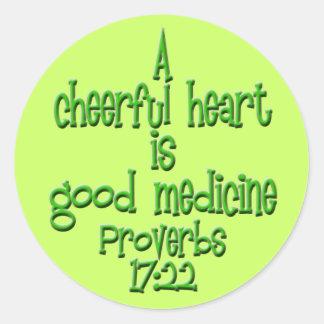 Proverbs 17:22 round sticker