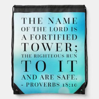 Proverbs 18:10 Bible Quote Drawstring Bag