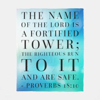 Proverbs 18:10 Bible Quote Fleece Blanket