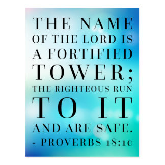 Proverbs 18:10 Bible Quote Postcard