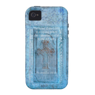 Proverbs 18:10 Encouraging Bible Verse CROSS Case For The iPhone 4