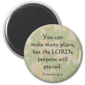 Proverbs 19:21 6 cm round magnet