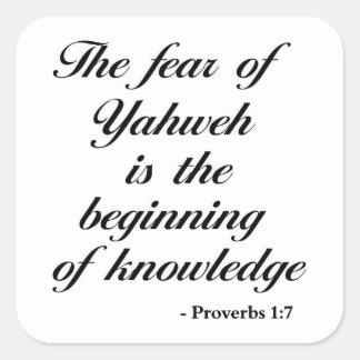 Proverbs 1:7 | Bible Quote Square Sticker