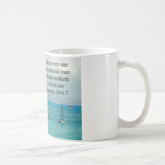 Proverbs 20:6-7 Father Scripture Gift Coffee Mug