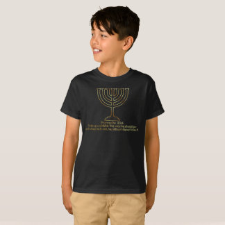 Proverbs 22:6 with Gold Menorah (Boys) T-Shirt