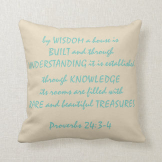 "Proverbs 24:3-4 Polyester Throw Pillow 16"" x 16"""