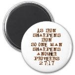 Proverbs 27:17 6 cm round magnet