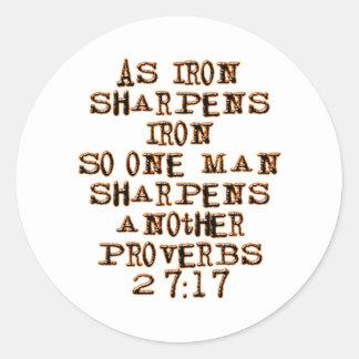 Proverbs 27:17 classic round sticker
