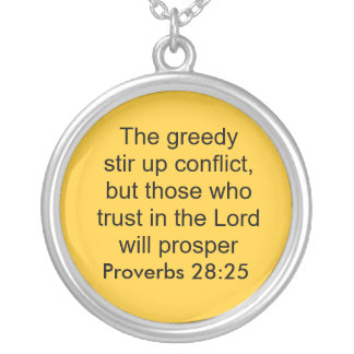 proverbs 28:25 neckalce silver plated necklace