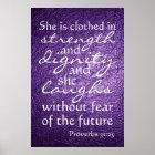 Proverbs 31:25 bible verse poster