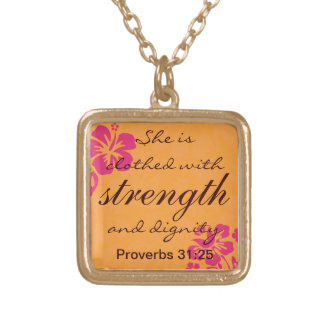 Proverbs 31 25 Clothed with Strength - Fuschia Square Pendant Necklace
