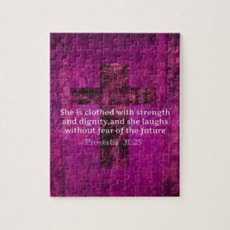 Proverbs 31:25 Inspirational Bible Verse  Women Puzzle