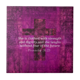 Proverbs 31:25 Inspirational Bible Verse  Women Small Square Tile