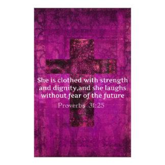 Proverbs 31:25 Inspirational Bible Verse  Women Stationery Design