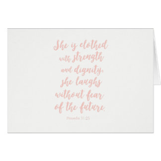 Proverbs 31:25 Notecard; blank inside Card