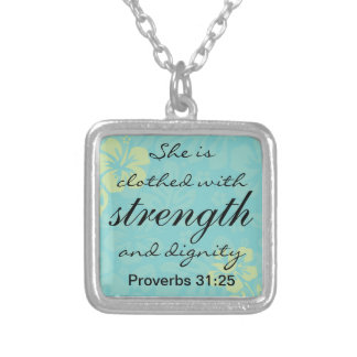 Proverbs 31 25 She is clothed with Strength Square Pendant Necklace