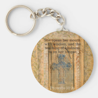 Proverbs 31:26 Beautiful Bible Verse for Women Basic Round Button Key Ring