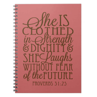 Proverbs 31 - Clothed in Strength & Dignity Brown Notebooks