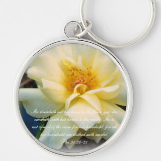 Proverbs 31 Collection ~Pro 31:20-21 Silver-Colored Round Key Ring