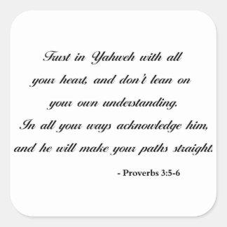 Proverbs 3:5-6 | Bible Quote Square Sticker