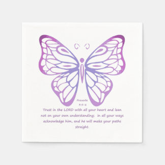 Proverbs 3:5,6 Scripture Inspiration Butterfly Paper Napkin