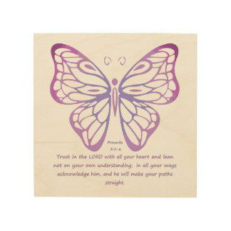 Proverbs 3:5,6 Scripture Inspiration Butterfly Wood Wall Decor