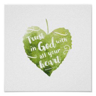 Proverbs 3:5-6 Watercolour Art Poster