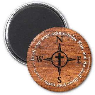 Proverbs 3:6 Direct Your Paths Bible Verse Compass 6 Cm Round Magnet