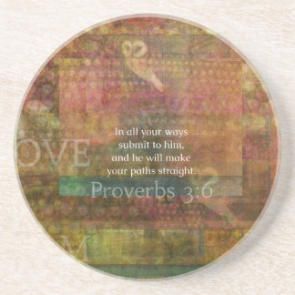 Proverbs 3:6: Inspirational Bible Verse Drink Coasters