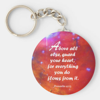 Proverbs 4:23 basic round button key ring