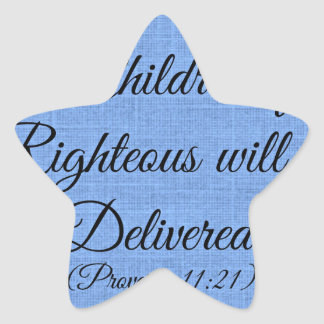 Proverbs Bible verse The children of the righteous Star Stickers