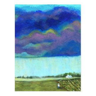 Providence Abstract Folk Art Landscape Painting Postcard