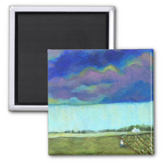 Providence Abstract Folk Art Landscape Painting Square Magnet