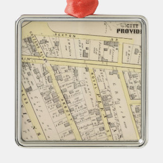 Providence Rhode Island Map 2 Silver-Colored Square Decoration