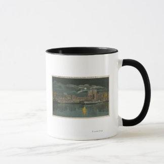 Providence, RI - Night View of City & Waterfront Mug
