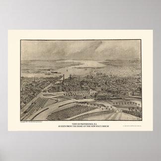 Providence, RI Panoramic Map - 1896 Poster