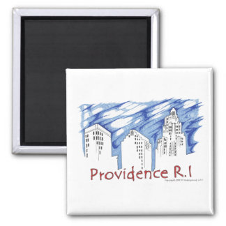 Providence with Blue Skyline Square Magnet