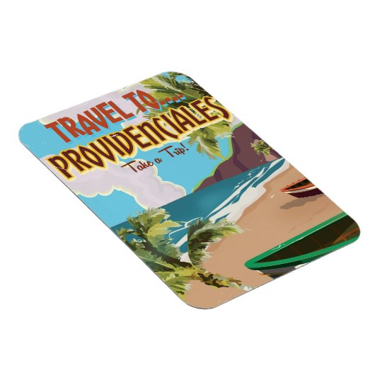 Providenciales vintage travel poster rectangular photo magnet