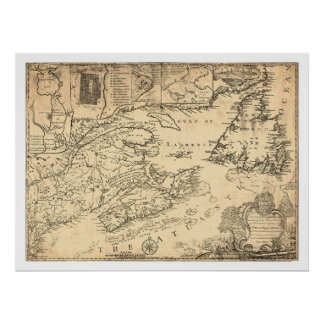 Province of Nova Scotia Canada Map 1776 Poster