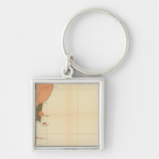Province of Nova Scotia Island of Cape Breton 4 Silver-Colored Square Key Ring