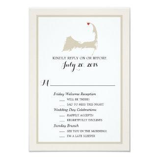 Provincetown Cape Cod   Wedding RSVP 9 Cm X 13 Cm Invitation Card