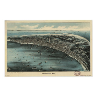 Provincetown Mass. 1910 Antique Panoramic Map Poster