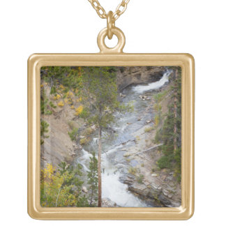 Provo River and aspen trees 14 Gold Plated Necklace