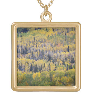 Provo River and aspen trees 3 Gold Plated Necklace
