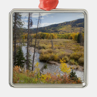 Provo River and aspen trees 5 Christmas Ornament
