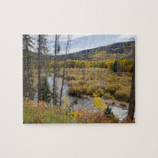 Provo River and aspen trees 5 Jigsaw Puzzle