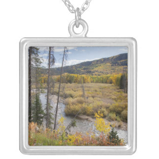 Provo River and aspen trees 5 Silver Plated Necklace