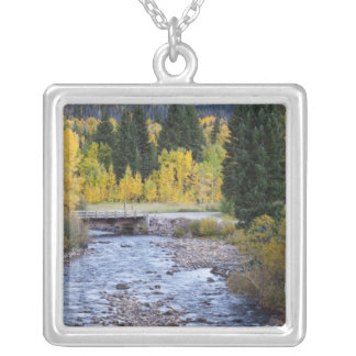 Provo River and aspen trees 8 Silver Plated Necklace
