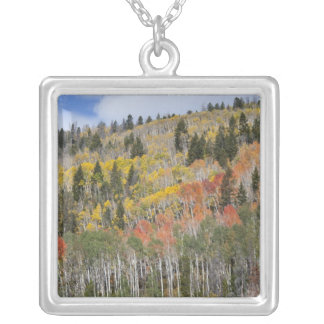 Provo River and aspen trees Silver Plated Necklace