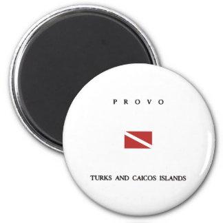 "Provo ""Turks and Caicos"" Islands Scuba Dive Flag Magnet"
